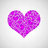 Purple little hearts. Heart containing a many little purple and pink hearts Royalty Free Stock Photo