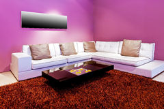 Purple living room. Interior of living room with purple walls stock photos