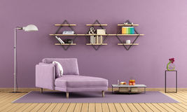 Purple living room with chaise lounge and shelves Royalty Free Stock Image