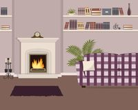 Purple living room with fireplace and checkered sofa. The room also has a shelves with books and home decor, a mantel clock and big flower. Vector illustration Stock Image