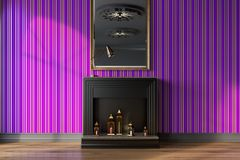 Purple living room, fireplace and mirror. Purple living room interior with a black decorative fireplace, candles and a mirror on a wall. 3d rendering mock up Royalty Free Stock Photography