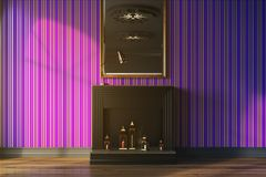 Purple living room, fireplace and mirror toned. Purple living room interior with a black decorative fireplace, candles and a mirror on a wall. 3d rendering mock Royalty Free Stock Image