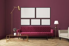 Purple living room, red sofa, poster gallery. White living room interior with a wooden floor, loft windows, a red sofa, a coffee table and a poster gallery on a Stock Photos