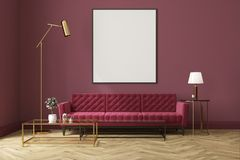 Purple living room, red sofa, poster. White living room interior with a wooden floor, loft windows, a red sofa, a coffee table and a framed vertical poster on a Stock Photography