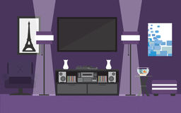 Purple living room. Vector for your ideas Royalty Free Stock Photo