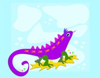 Purple Lizard with Blue Background Royalty Free Stock Image
