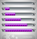 Purple Loading Bars with stripes Royalty Free Stock Photo