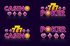 Purple logo ideas text CASINO and POKER. Vector Icons for lottery or casino. Isolated four emblem stock illustration
