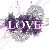 Purple love. Abstract colorful background with the word love written with white letters over purple flowers Royalty Free Stock Photo