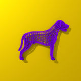 Purple low polygonal dog illustration. Low poly colorful, pop art style dog illustration Stock Photos