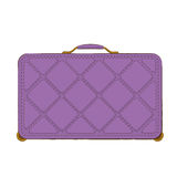 Purple luggage suitcase. With rectangular pattern on wheels Stock Photo