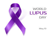 Purple Lupus awareness ribbon isolated on white Stock Image