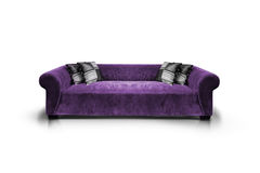 Purple luxurious sofa. Isolated on white background, front view Royalty Free Stock Photo