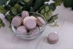 Purple macaroons in a glass plate. royalty free stock photos