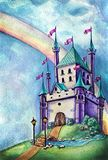 Purple magic castle and rainbow vector illustration