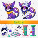 Purple magic cat with toys and winter clothing Stock Images