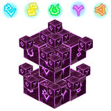Purple magic cube with signs isolated. Vector Stock Photo