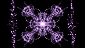 Purple magic fractal patterns in movement corresponding to the rhythm of breathing, antistress magic ornament for relax