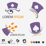 Purple Magic Hat Of Magician Logo Set Stock Photography