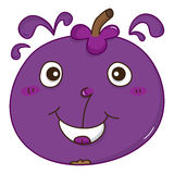 Purple Mangosteen  yummy cute mascot Royalty Free Stock Image