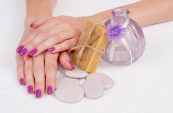 Purple manicure and aroma treatment still life Stock Images