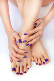 Purple manicure and pedicure. Makeup, fashion, beauty. Beautiful female legs with purple pedicure and hands with manicure royalty free stock photography
