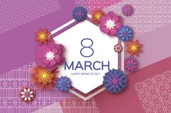 Purple 8 March. Gold Purple Happy Women`s Day. Mother`s Day. Paper cut Floral Greeting card.origami flower. ext. Hexagon. Purple 8 March. Gold Purple Happy Women Stock Illustration