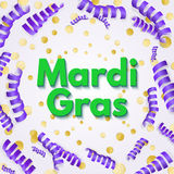 Purple Mardi Gras celebration flyer or greeting card on golden m Royalty Free Stock Photos