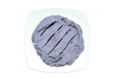 Purple mashed potato on white Stock Photo