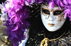 Purple mask detail. Rich feathered purple mask portrait . Venice carnival 2012 Royalty Free Stock Photography
