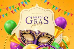 Mask carnival at mardi gras invitation flyer. Purple mask with diamonds for carnival at mardi gras invitation flyer. Balloons and horns, beads and flags, crepe stock illustration
