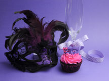 Purple masquerade party decorations Royalty Free Stock Photo