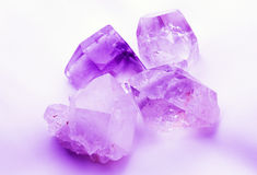 Purple mauve colored quartz crystals Stock Images
