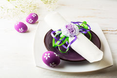 Purple mauve lilac Easter table place setting Stock Images