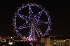 Purple Melbourne Star at Night Royalty Free Stock Photography