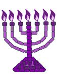 Purple Menorah - 7 Lampstand. A purple lampstand symbolising royalty. Revelation 1:20 The mystery of the seven stars that you saw in my right hand and of the Stock Images