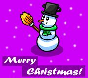 Purple Merry Christmas Card With a Snowman royalty free illustration