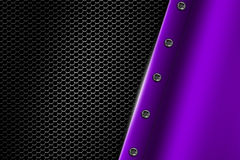 Purple metal background with rivet on gray metallic mesh. Royalty Free Stock Image