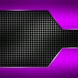 Purple metal frame on black metallic mesh. Metal background. 3d illustration Royalty Free Stock Image