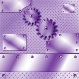 Purple metal plate and gears Stock Photos