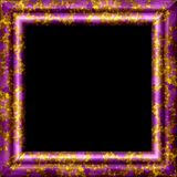 Purple metal, wooden ornamental frame with golden splash Stock Photo