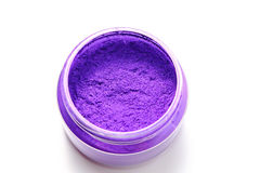 Purple mica color pigments on white background stock images