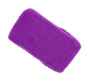 Purple microfiber sponge on white background. Top view of a new purple microfiber kitchen sponge isolated on a white background royalty free stock images