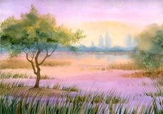 Purple mist over the lake Royalty Free Stock Photos