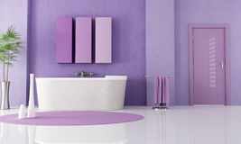 Purple modern bathroom Royalty Free Stock Image