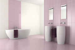 Purple modern bathroom with double basin. And bathtub - 3D render Stock Photo