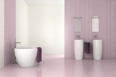 Purple modern bathroom with double basin. And bathtub - 3D render vector illustration