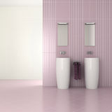 Purple modern bathroom with double basin. 3D render vector illustration