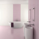 Purple modern bathroom with double basin. And bathtub - 3D render royalty free illustration