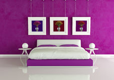 Purple modern bedroom Royalty Free Stock Photography